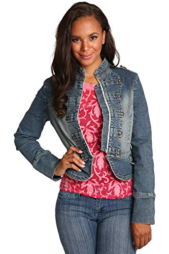 Sweet Vibes Womens Stretch Denim Jacket Double Breasted Military Style Vintage Wash