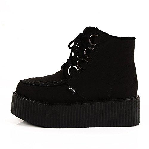 Roseg Creepers Noir Gothique Punk Chaussures Forme Plate Bottes Femmes Lacets rWQCoedxBE