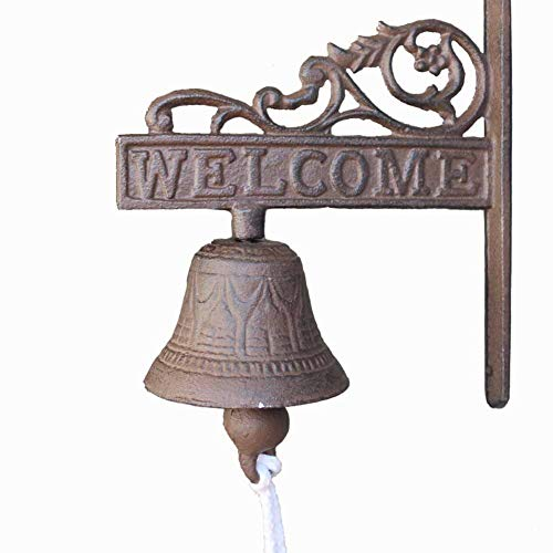 - Elumaxon Doorbell Retro Cast Iron, Welcome Sign Rustic Cast Doorbell, Ring Bell Farmhouse Wall Decor, Door Bell Antique Style, Dinner Bell Decorative, Welcome Wall Plaque Yard Sign