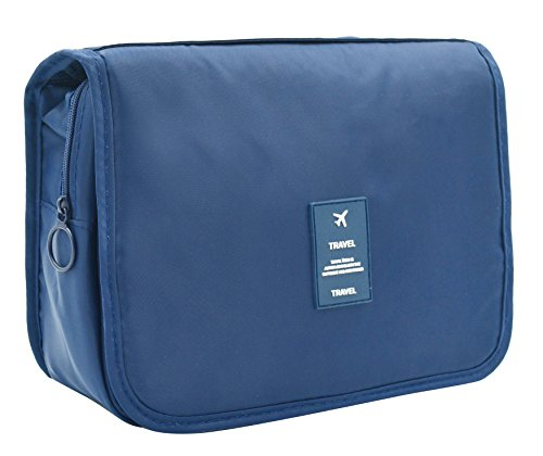 Portable Hanging Travel Toiletry Bag Waterproof Makeup Organizer Cosmetic Bag Pouch For Women Girl (NAVY1)