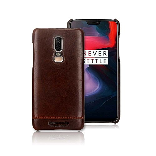 (OnePlus 6 Case, Pierre Cardin Genuine Leather Premium Vintage Classic Business Style for Men Hard Back Cover Slim Protective Case for OnePlus 6 - Dark Brown)