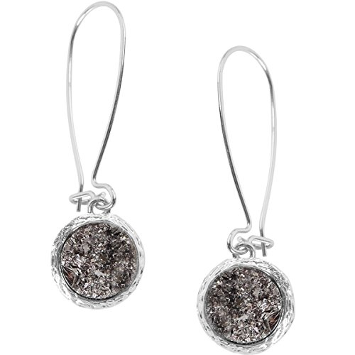 Humble Chic Simulated Druzy Threaders - Upside-Down Long Hoop Dangle Drop Earrings for Women, Simulated Hematite Silver-Tone, Grey, Metallic