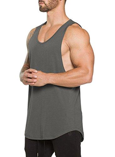 Ouber Men's Gym Bodybuilding Workout Stringer Tank Top(L,Gray)