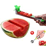 Yueshico Stainless Steel Watermelon Slicer Cutter Knife Corer Fruit Vegetable Tools Kitchen Gadgets with Melon Baller Scoop Extra: more info