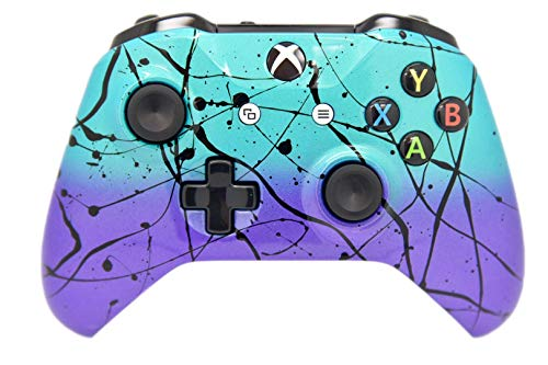 Hand Airbrushed Fade Xbox One Custom Controller (Teal & Purple)