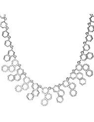 U7 18K Gold/Platinum Plated Zirconia 17-inch/Resizable Hexagon Charms Bib Necklace