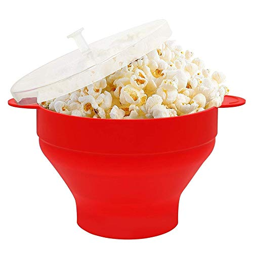 YWT Silicone Popcorn Bowl Foldable Microwave Popcorn Bucket High Temperature Large Covered Silicone Bucket Popcorn Bowl BPA Free and Dishwasher Safe Red