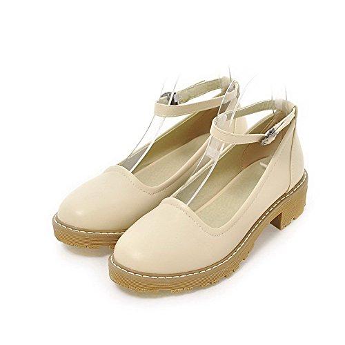 Odomolor Women's Buckle Pu Low-Heels Soild Closed-Toe Court Shoes, Beige, 39
