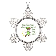 THINK OF HAPPY THINGS CERAMIC ROUND CHRISTMAS ORNAMENT