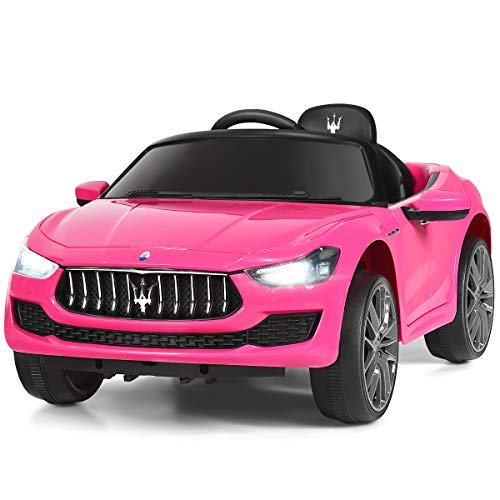 Costzon Ride on Car, Licensed Maserati Gbili 12V Rechargeable Battery Powered Electric Car w/ 2 Motors, Parental Remote Control & Manual Modes, LED Lights, MP3 (Pink)