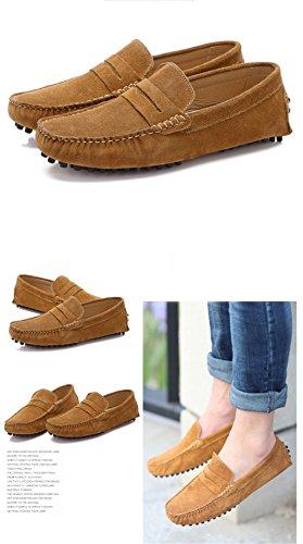 Santimon-Mens Comfortable Matte Leather Driving Shoe Horsebit Moccasins Loafer Doug Shoes Brown 2QNnRE