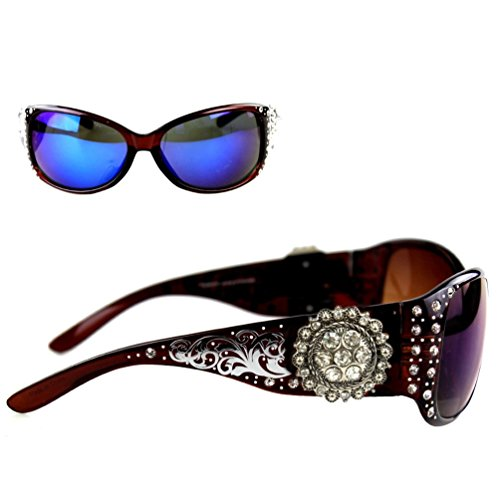 Montana West Ladies Sunglasses Silver Design Scrollwork Rhinestones Floral Concho UV 400, Coffee Frame Color Lens
