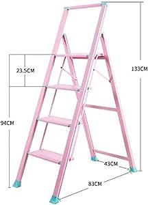 JLDN Escalerilla, 4 Peldaños Escalera Plegable Escalera Stepladder con Apoyabrazos Resistente y Ancha Antideslizantes Multiusos,Pink: Amazon.es: Hogar