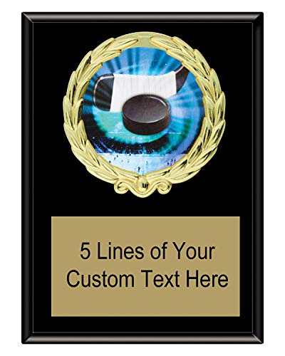 Express Medals 5x7 Black Color Hockey Plaque Award Trophy with Engraved Plate MY4 - Plaque Award Hockey