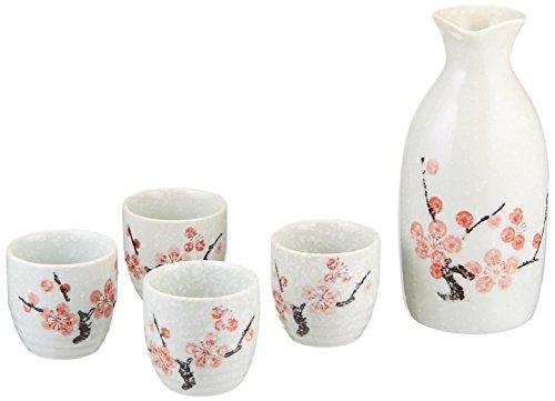 - Happy Sales HSSS-SNCB28, Japanese 5 pc Sake Set Snow Cherry Blossom