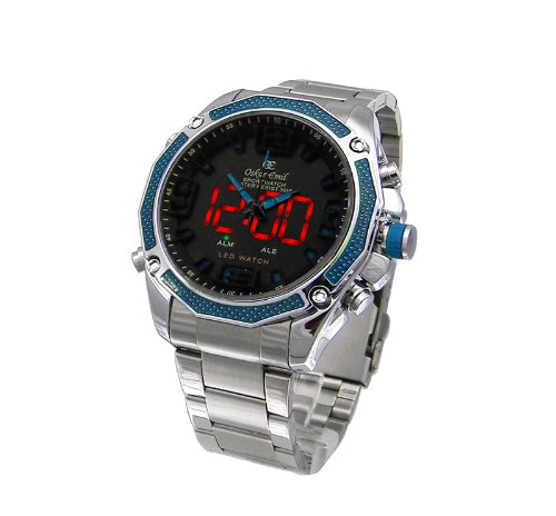 Mens Oskar Emil Accent Dual Time Digital-Analogue Steel Sports Watch (Blue)
