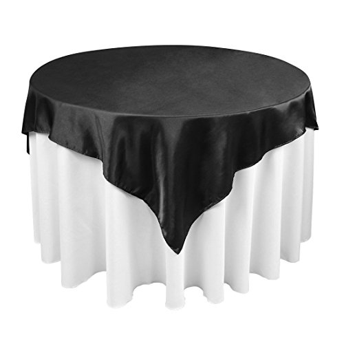 LinenTablecloth 60-Inch Square Satin Overlay Black