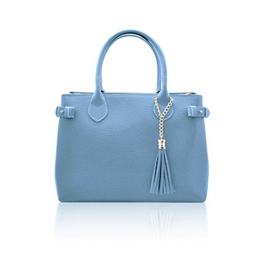 avec Bleu cuir fabriqué bandoulière pendentif en Italie portés veau clair en franges main sac VERONICA à Sacs avec Epi de PqU8w8
