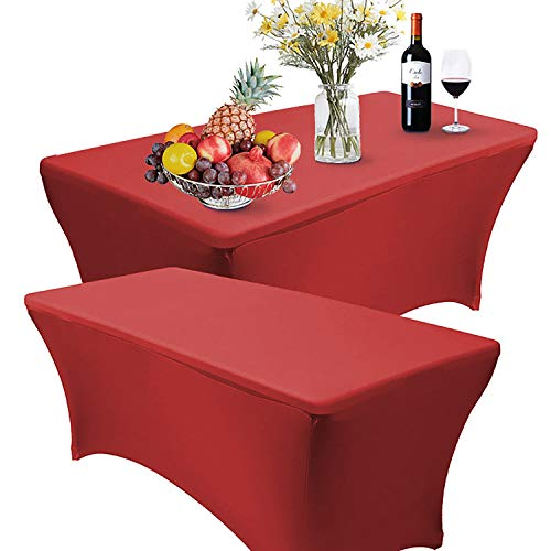 Reliancer 2 Pack 4\6\8FT Rectangular Spandex Table Cover Four-Way Tight Fitted Stretch Tablecloth Table Cloth for Outdoor Party DJ Tradeshows Banquet Vendors Weddings Celebrations(2PC 6FT, Red)