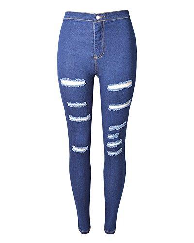 Cintura Rotos Skinny Denim Elástico Vaqueros Mujer Oscuro Alta Jeans Azul Lavados Pantalon Pantalones Lápiz xTUwqH1g0