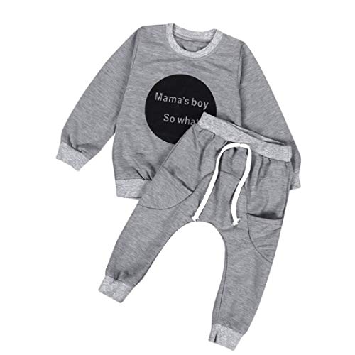 (Toddler Infant Baby Boys Outfit Long Sleeve T-Shirt Tops Sweatsuit Pants Outfit Set (12-18 Months,)