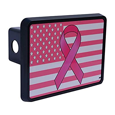 Rogue River Tactical Pink Ribbon USA American Flag Trailer Hitch Cover Plug US Patriotic for Her Women Breast Cancer Awareness: Automotive