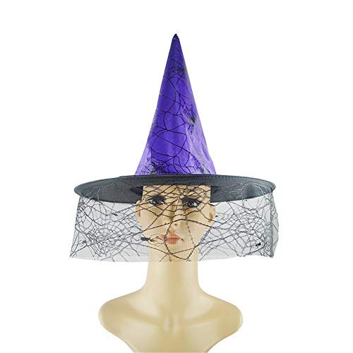 TheRang 1Pcs Adult Womens Witch Hat for Halloween Costume Accessory Spider -