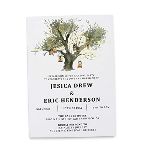 Rustic Card Wedding Reception Party Invitation, Post Wedding Party Celebration, Marriage Announcement, Celebrate our Wedding Day, Lantern Tree Design, Customizable, Personalized, Set of 20]()