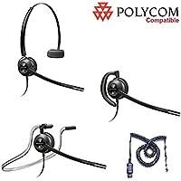 Polycom Compatible Plantronics VoIP Noise Canceling EncorePro 540 HW540 Headset Bundle for SoundPoint® Phones: IP 300, 335, 450, 501, 550, 560, 600, 650, 670 | VVX300, VVX310, VVX400, VVX410, VVX500, VVX600, VVX1500 | CX300, CX600, CX700