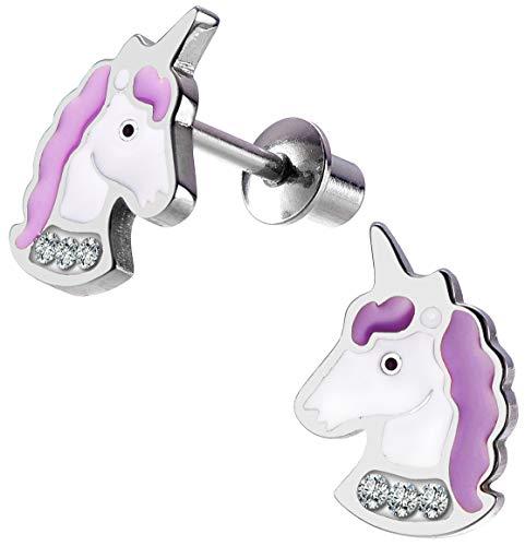 Girls Crystal Secure Screwback Unicorn Earrings, Pink Purple Screw Back Earrings for Little Girls with Stainless Steel Post (Purple) (Surgical Steel Post Earings)