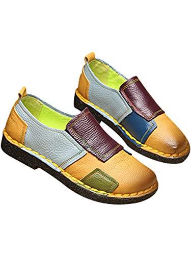 De Bloc 3 Maternité Cuir Style Chaussures Bigassets Jaune Couleur Plates Femmes xAqSwS