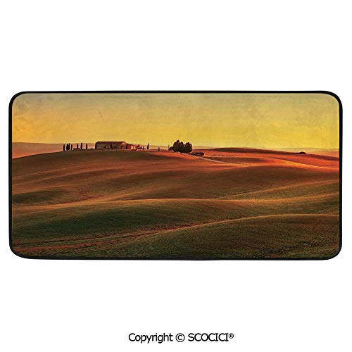 Rectangular Area Rug Super Soft Living Room Bedroom Carpet Rectangle Mat, Black Edging, Washable,Tuscan Decor,Rural Landscape of European Mediterranean Rural and Old,39