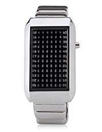 Mastop 72 Red LED Binary Digital Watches Men's Stainless Steel Silver Wrist Watch