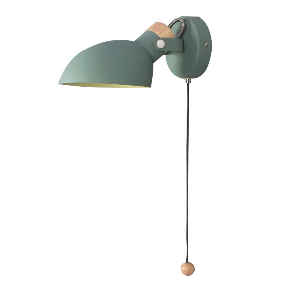 Grün LED macaron wandleuchte wohnzimmer schlafzimmer nachtwandleuchte nordisch einfach mit schalter aus massivholz kreative drehende lichter,Grün