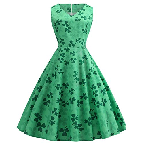 Angelaicos Womens ST Patrick's Day Costume Vintage Floral Swing Cocktail Dress (New Green, -