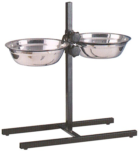 - MCage Large Adjustable Wrought Iron Stainless Steel Double Diner Food Water Bowls, 5-Quart, Black