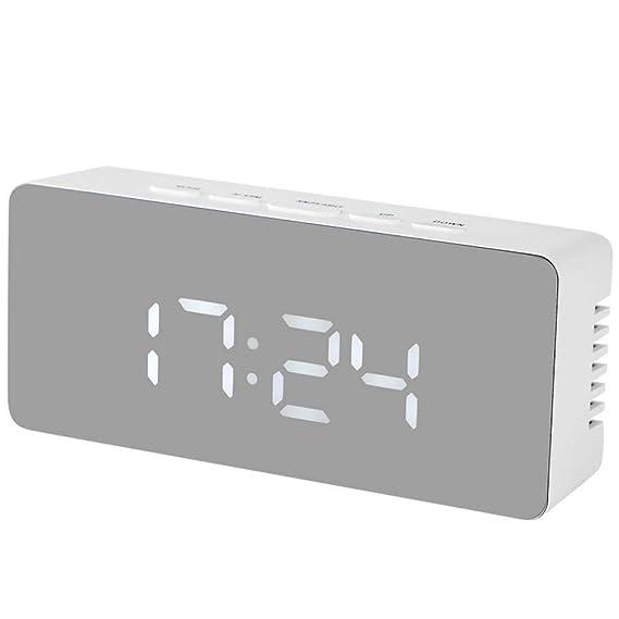 Mzbbn Despertadores Digitales Espejo Led Despertador Electrónico ...