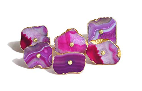 Set of 6 Multishade Pink Colored Agate Stone knobs with Golden electroplated Edges - Unique Cabinet knobs - Boutons en Pierre d'agate - Cabinet pulls - Dresser pulls - Achat Steinknöpfe