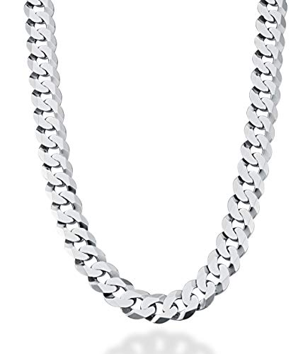 Miabella Solid 925 Sterling Silver Italian 12mm Solid Diamond-Cut Cuban Link Curb Chain Necklace for Men, 18, 20, 22, 24, 26, 28 Inch Made in Italy (24, Rhodium-Plated-Silver)