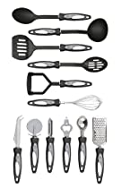 Premier Housewares 12-piece Stainless Steel Tool Set With Black Handles And