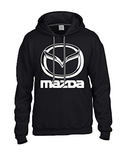MAZDA WHITE Logo on BLACK Hooded Sweater / Sweatshirt (Hoodie) - SIZE LARGE