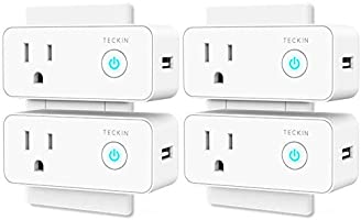Smart Plug Mini WiFi Outlet with USB Port Travel Wireless Socket Compatible with Alexa, Google Home&IFTTT, TECKIN WiFi Plug Enabled Remote Control Timer Function, No Hub Required (4 Pack)