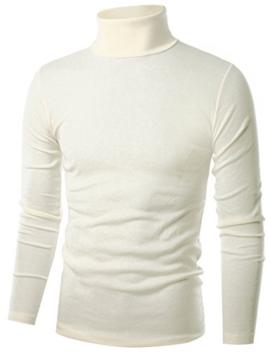 Ohoo Mens Slim Fit Flice Long Sleeve Pullover Flice Turtleneck /DCT005-IVORY-M