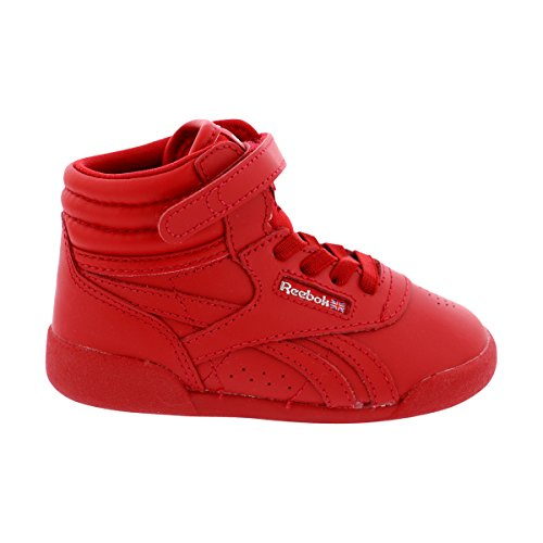 Reebok - Freestyle Hi Sneakers (Infant/Toddler/Little Kid) - Red/Silver (Freestyle Sneaker Hi)