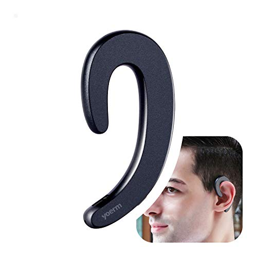 YOERM YR-T10 Ear-Hook Wireless Bluetooth Headset, Open Ear Headphones Non Bone Conduction, Non in-Ear Earbuds (Black Single Ear) Long Press 5 Seconds for Pairing