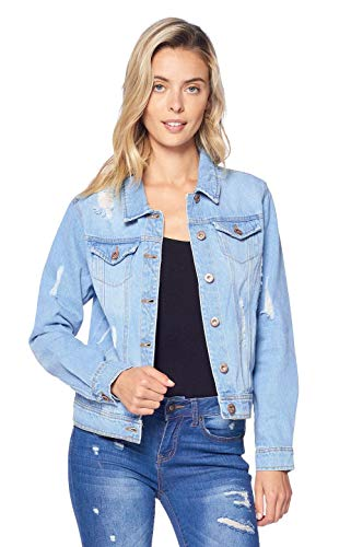 Blue Age Women's Distressed Jean Jacket Light Denim (JK4002_LT_L)