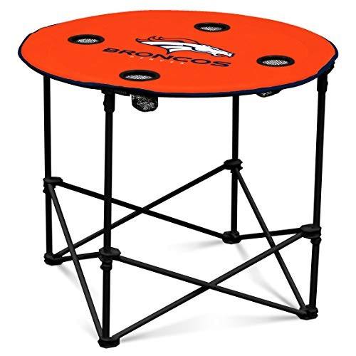Denver Broncos  Collapsible Round Table with 4 Cup Holders and Carry Bag