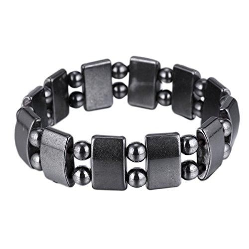 VIKI LYNN Set Of 2 Men's Hematite Metal Magnetic Therapy Bracelets S27-St2