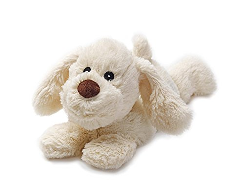 Warmies Cozy Plush Cream Puppy Lying Down Microwaveable Soft Toy - Microwaveable Toy