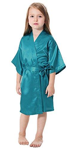 JOYTTON Kids' Satin Rayon Kimono Robe Bathrobe Nightgown (8,Lake Blue)